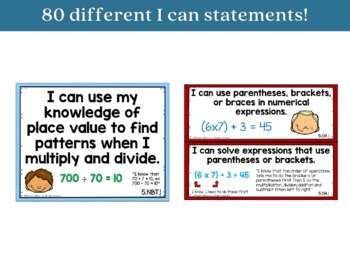I Can Statements 5th Grade Math