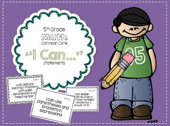 I Can Statements for 5th Grade Math Common Core