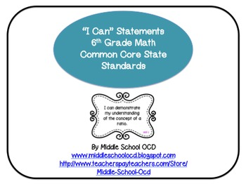 """I Can"" Statements for 6th Grade Math - Common Core"
