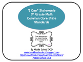 """""""I Can"""" Statements for 6th Grade Math - Common Core"""
