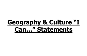 I Can Statements for 6th Grade Social Studies