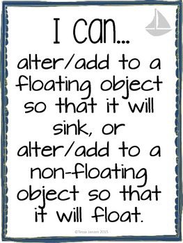 I Can Statements for Buoyancy & Boats Unit