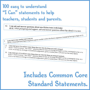 """""""I Can"""" Statements for Common Core Kindergarten."""