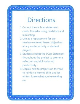 I Can Statements for Common Core Technology Projects