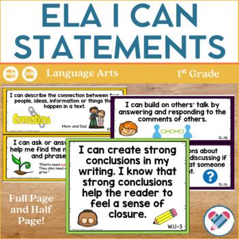 I Can Statements 1st Grade ELA