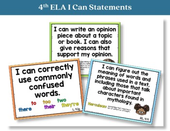 I Can Statements 4th Grade ELA