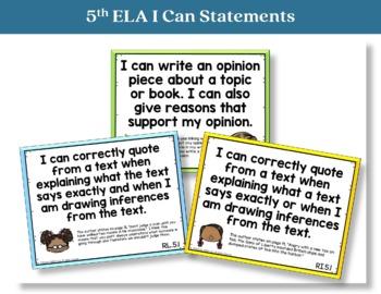 I Can Statements 5th Grade ELA