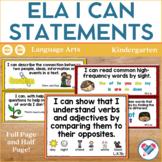 I Can Statements Kindergarten ELA