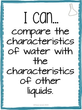 I Can Statements for Exploring Liquids Unit