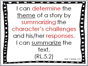 I Can Statements for Fifth Grade Literacy