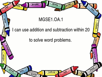 I Can Statements for GSE 1st grade math with crayon border.