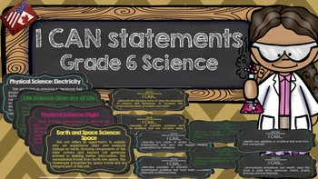 I Can Statements Grade 6 Science (Chalkboard Theme)