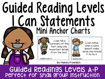 I Can Statements for Guided Reading Levels Mini Anchor Charts