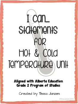 I Can Statements for Hot & Cold Temperature Unit