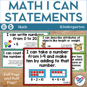 I Can Statements Kindergarten Math