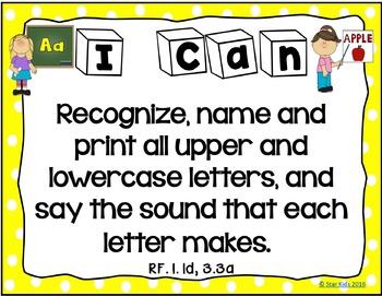 I Can Statements for Kindergarten {ELA}