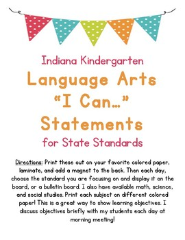 I Can Statements for Kindergarten Language Arts Indiana State Standards