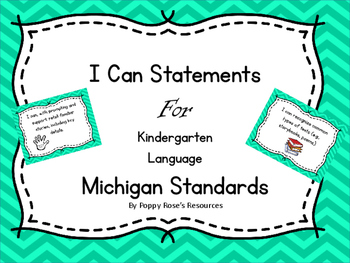I Can Statements for Kindergarten Language - Michigan Standards