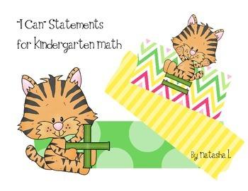 """I Can"" Statements for Kindergarten Math"