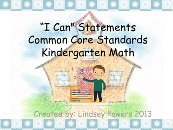 """I Can"" Statements for Kindergarten Math Common Core"