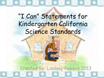 """I Can"" Statements for Kindergarten Science"