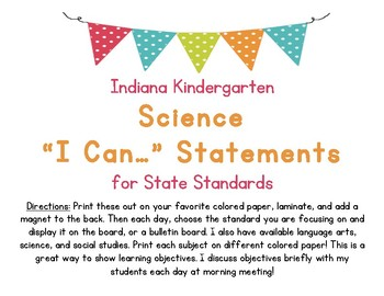 I Can Statements for Kindergarten Science Indiana State Standards