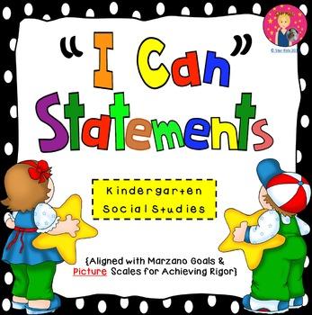 I Can Statements for Kindergarten {Social Studies}