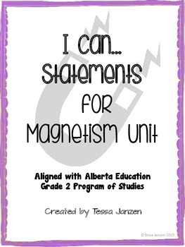 I Can Statements for Magnetism Unit