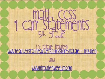 I Can Statements for Math CCSS 5th Grade