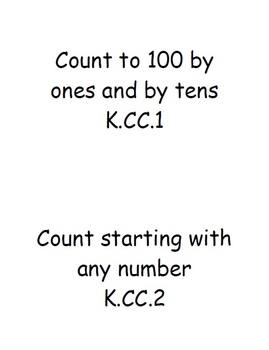 I Can Statements for Math Kindergarten
