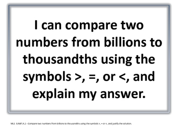 I Can Statements for Missouri Learning Standards (5th Grade-Math)