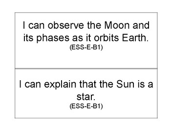 I Can Statements for Outer Space Unit