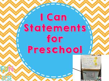 I Can Statements for Preschool Freebie