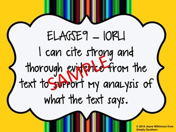 """I Can"" Statements for Reading Literature from GSE for ELA"