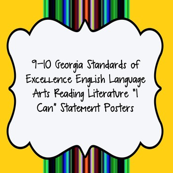 """""""I Can"""" Statements for Reading Literature from GSE for ELA"""