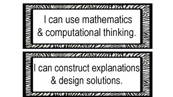 I Can Statements for Science and Engineering Practices (Zebra Theme)