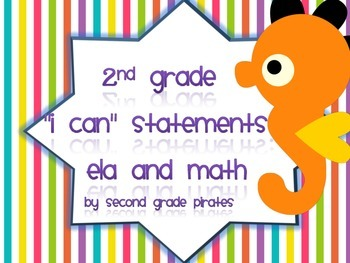 """""""I Can"""" Statements for Second Grade- ocean themed"""