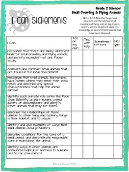 I Can Statements for Small Crawling & Flying Animals Unit