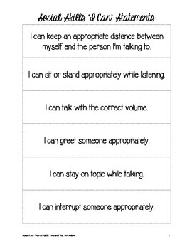 """""""I Can"""" Statements for Social Skills"""