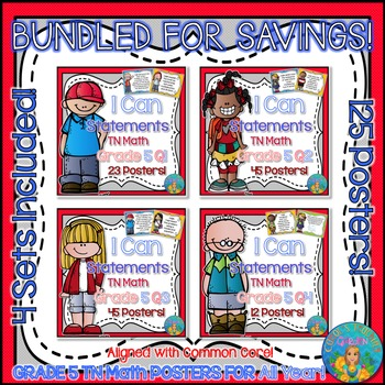 I Can Statements for TN and Common Core Math Grade 5 All Year Bundle