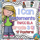 I Can Statements for Tennessee ELA Grade 3 First Quarter Watercolor Brights