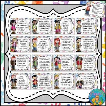 I Can Statements for Tennessee ELA Grade 3 Second Quarter Watercolor Brights