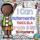 I Can Statements for Tennessee ELA Grade 3 Third Quarter Watercolor Brights