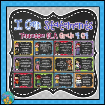 I Can Statements for Tennessee ELA Grade 4 Fourth Quarter Chalkboard Brights
