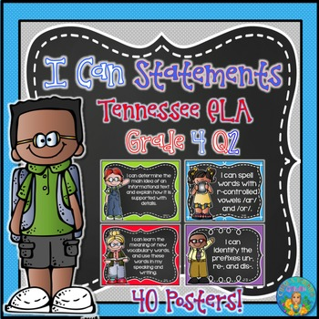 I Can Statements for Tennessee and Common Core ELA Grade 4 Second Quarter