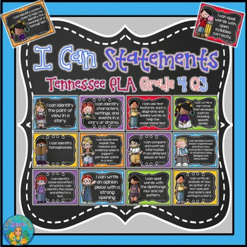 I Can Statements for Tennessee ELA Grade 4 Third Quarter Chalkboard Brights