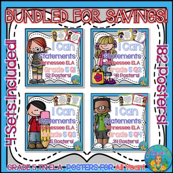 I Can Statements for TN Common Core ELA Grade 5 Entire Year Bundled for Savings!