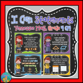I Can Statements for Tennessee Geometry Grade 4 Q4 Chalkboard Brights