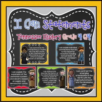 I Can Statements for Tennessee History Grade 4 Fourth Quarter Chalkboard Brights