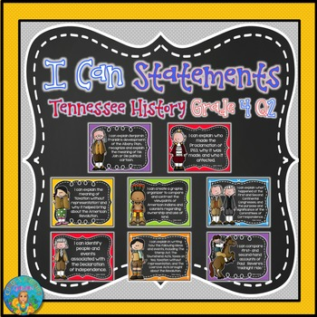 I Can Statements for Tennessee History Grade 4 Second Quarter Chalkboard Brights